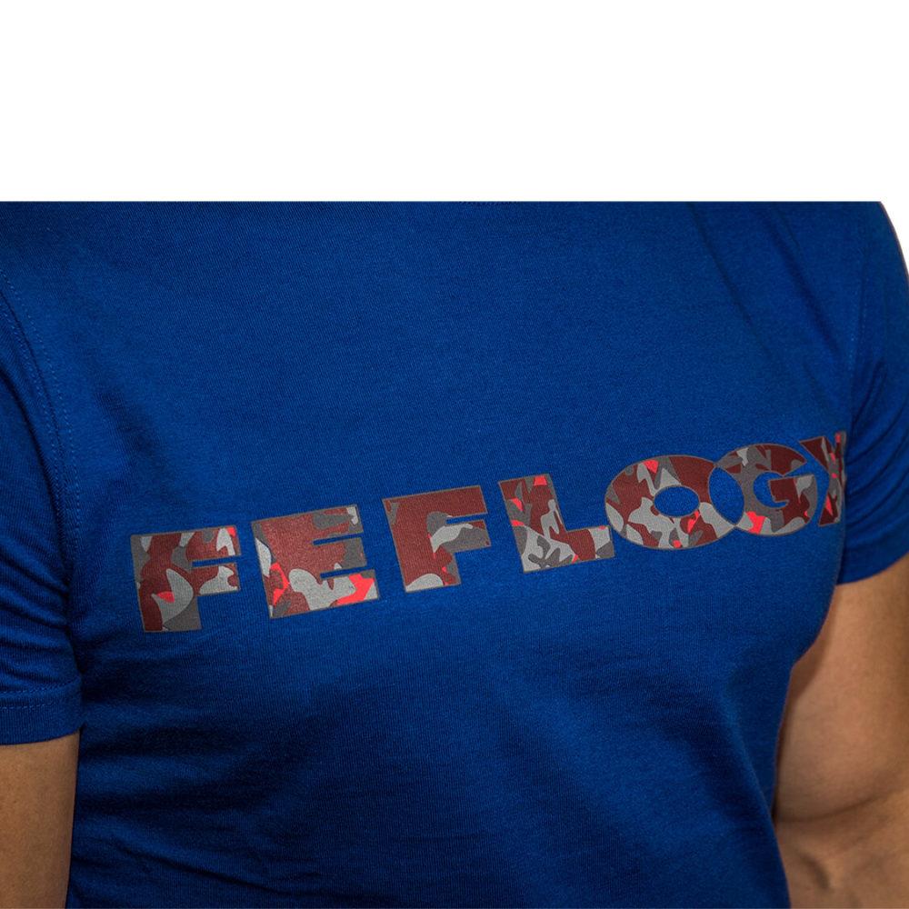FEFLOGX T-Shirt Basic, Detail Schriftzug (weiß)