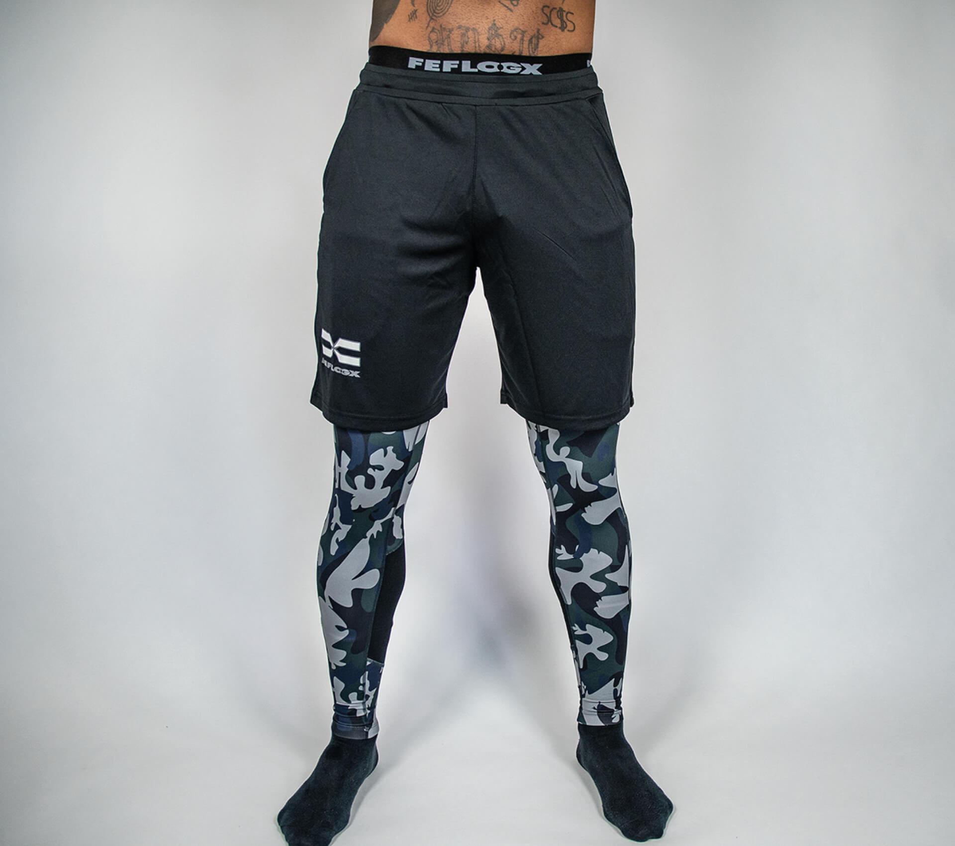 FEFLOGX Sportswear Men Leggings und Allrounder-Shorts-Kombi.