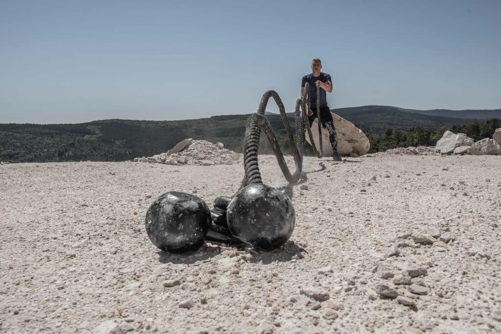 FEFLOGX Sportswear Funktionsshirt Pure und Leggings Camouflage, Battle Rope Workout (4).