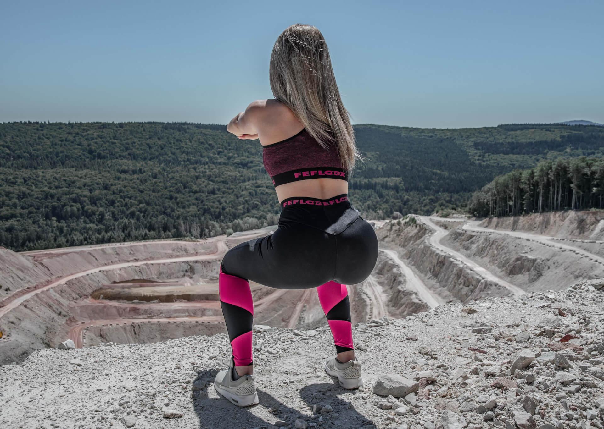 FEFLOGX Sportswear Damen Leggings und Damen Sport-Top Motion, Steinbruch-Shooting (3).