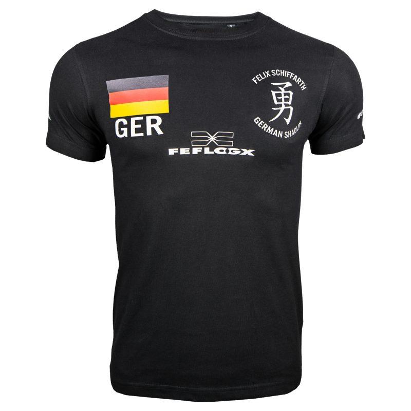 Support-Shirt (schwarz) Felix Schiffarth by FEFLOGX Sportswear, Vorderansicht.