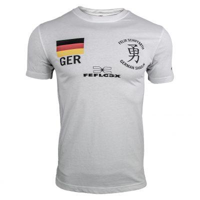 Support-Shirt (weiß) Felix Schiffarth by FEFLOGX Sportswear, Vorderansicht.