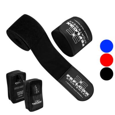 Boxbandagen EXC Move, FEFLOGX Sportswear, Details, 3 Farben, blau, rot, schwarz. 4,5m lang, Frontbild.