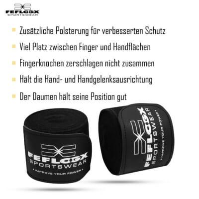 Boxbandagen EXC Move, FEFLOGX Sportswear, Details, 3 Farben, blau, rot, schwarz. 4,5m lang (1).