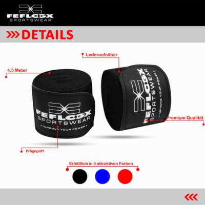 Boxbandagen EXC Move, FEFLOGX Sportswear, Details, 3 Farben, blau, rot, 4,5m, schwarz.