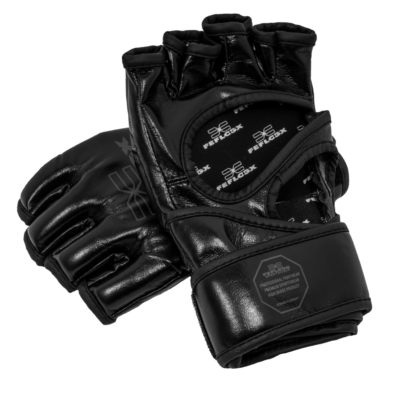 Profi MMA Fight Handschuhe EXC Move (sW) von FEFLOGX Sportswear, ohne Daumenschutz, Grappling, unten.