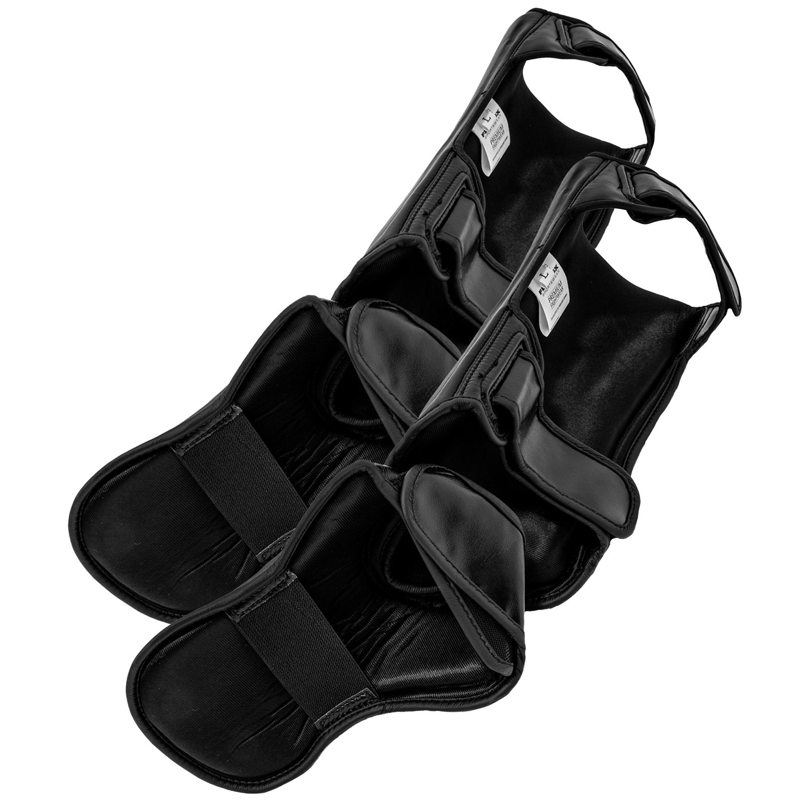Beinschutz. Profi Schienbeinschützer EXC Move von FEFLOGX Sportswear aus Echt-Leder, hinten.