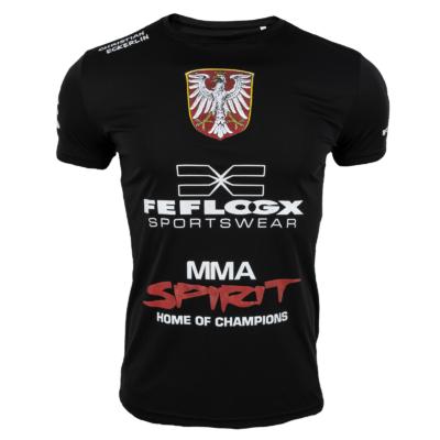 Schwarzes Support-Shirt von MMA-Fighter Christian Eckerlin, MMA-Spirit, FEFLOGX Sportswear, Frankfurt am Main, vorne.
