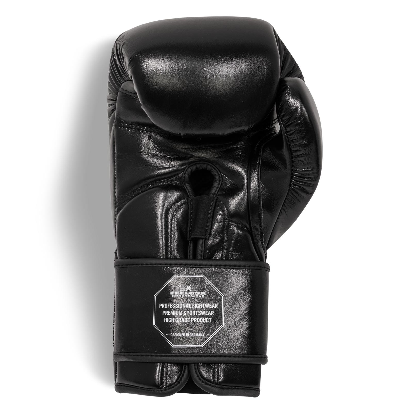 Profi Boxhandschuhe EXC Move von FEFLOGX Sportswear, 10 & 12 & 14 & 16 Unzen, Boxen, hochwertigstes Echt-Leder, untere Ansicht weiß.