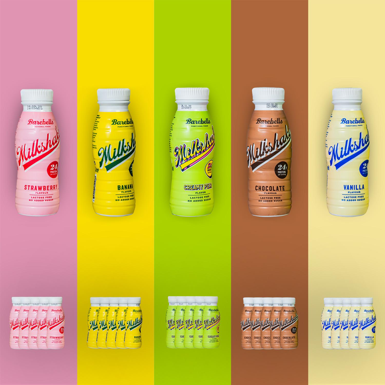Barebells Milk-Shake, alle Geschmächer, Protein-Drink, FEFLOGX Sportswear X Barebells.