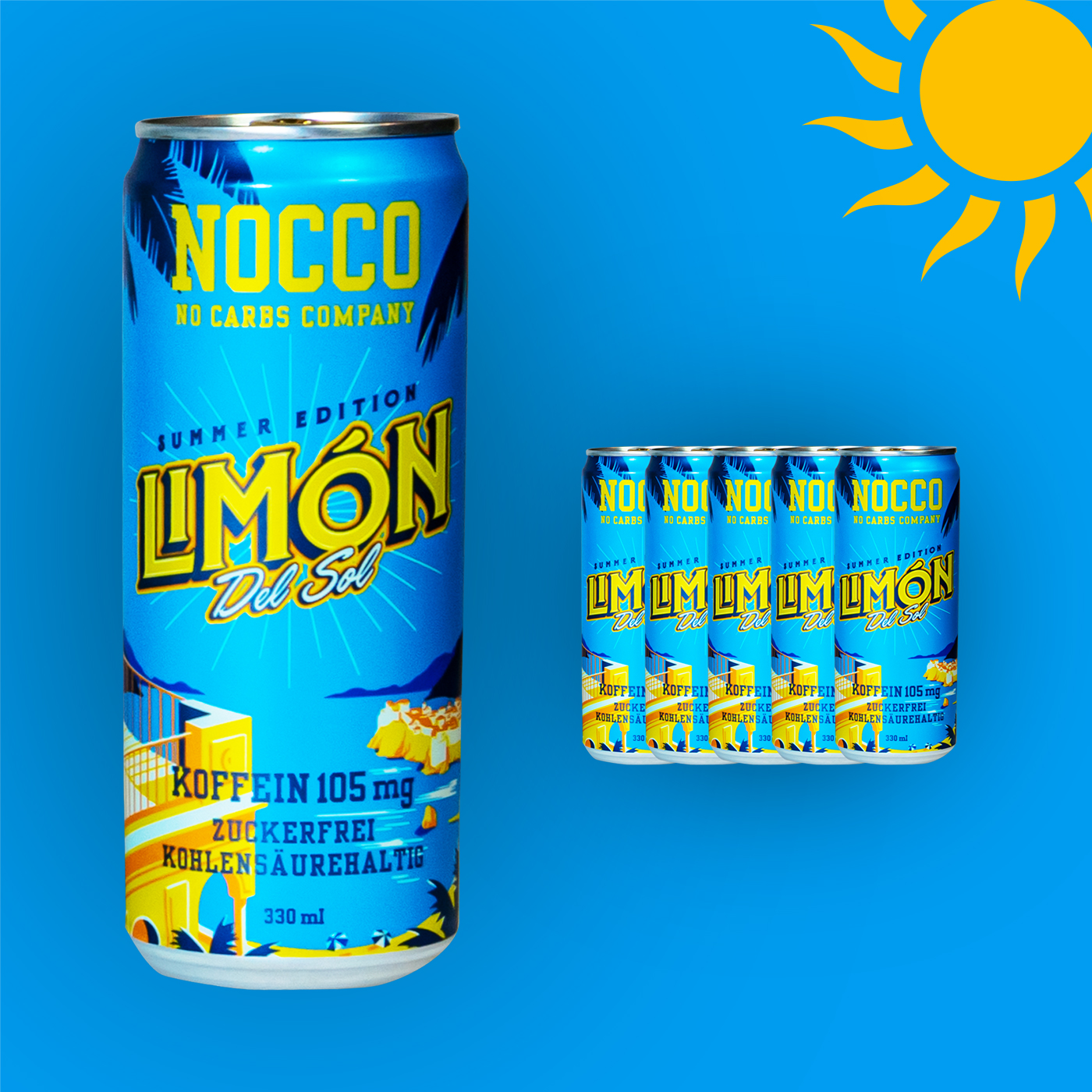 NOCCO BCAA Sport-Drink, Limon del Sol, erfrischendes Getränk mit Koffein, FEFLOGX Sportswear.
