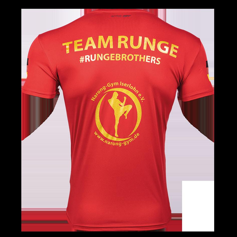 Support-Shirt von GMC-Fighter Rene Runge, FEFLOGX Sportswear, Narong Gym, hinten.