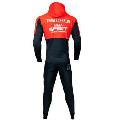 Support Trainingsanzug KSW MMA Fighter Christian Eckerlin, Zip-Hoody & Trainingshose/Jogginghose, MMA Spirit, Zec Plus, FEFLOGX Sportswear, hintere Ansicht.