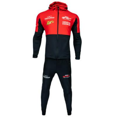 Support Trainingsanzug KSW MMA Fighter Christian Eckerlin, Zip-Hoody & Trainingshose/Jogginghose, MMA Spirit, Zec Plus, FEFLOGX Sportswear, vordere Ansicht.