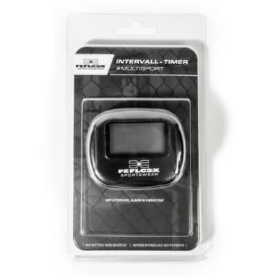 Intervall Timer von FEFLOGX Sportswear, mit Anleitung, Multi-Sport, Stoppuhr, Sport-Uhr, FEFLOGX Sportswear, mit Clipper, Interval-Timer, Bild mit Erklärung, vordere Ansicht, AAA-Batterie wird benötigt.
