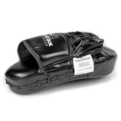 Boxpratzen von FEFLOGX Sportswear, Seitenansicht links der Pratzen für Boxen, MMA, Kampfsport etc., Leder Schlagpolster.