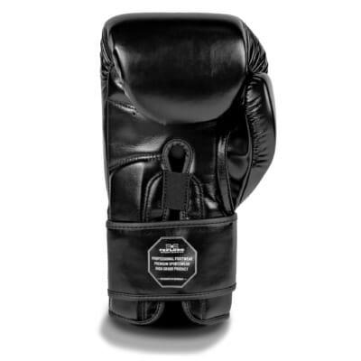 FEFLOGX Sportswear Boxhandschuhe EXC Move, Kickbox-Handschuhe, Thai-Boxhandschuhe, 10oz bis 16 Unzen, schwarz, einzeln hintere Ansicht.