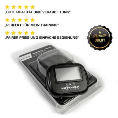Intervall Timer von FEFLOGX Sportswear, mit Anleitung, Multi-Sport, Stoppuhr, Sport-Uhr, FEFLOGX Sportswear, mit Clipper, Interval-Timer, Bild mit Erklärung, vordere Ansicht, AAA-Batterie wird benötigt, positive Rezensionen / Bewertungen.