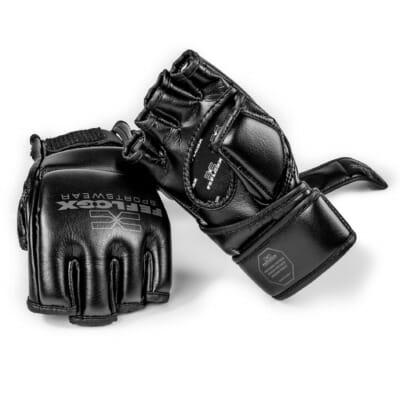 MMA Handschuhe Training, mit Daumenpolster, maximaler Schutz und maximale Power, Kampfsport, FEFLOGX Sportswear, perfekt, Handrücken & Handfläche Bild mit zwei Handschuhe (1).