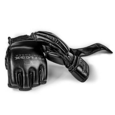 MMA Handschuhe Training, mit Daumenpolster, maximaler Schutz und maximale Power, Kampfsport, FEFLOGX Sportswear, perfekt, Handrücken & Handseite Bild mit zwei Handschuhe.