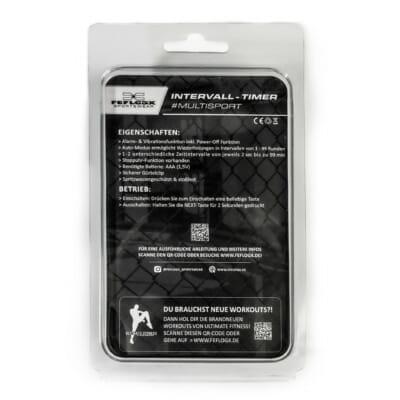 Intervall Timer von FEFLOGX Sportswear, mit Anleitung, Multi-Sport, Stoppuhr, Sport-Uhr, FEFLOGX Sportswear, mit Clipper, Interval-Timer, Bild mit Erklärung, hinten Ansicht, AAA-Batterie wird benötigt, Anleitung, Erklärung.