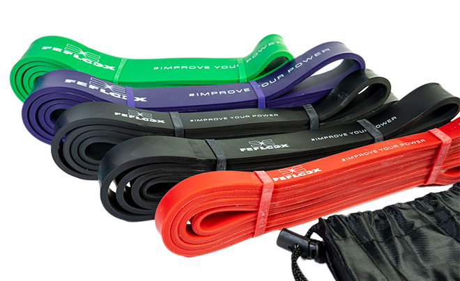 FEFLOGX Sportswear Resistance-Bands / Widerstands-Bänder, 4 verschiedene Stärken & Farben. Fitness-Bands, Sport-Bänder. Gummi-Bänder, 5er-Set mit Tasche (1).
